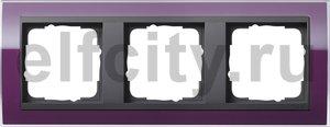 Рамка 3 поста, для горизонтального/вертикального монтажа, пластик прозрачный темно-фиолетовый-антрацит