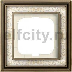 Рамка 1 пост, латунь античная/белая роспись