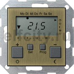 Термостат для электрического подогрева пола 230 В~ 8А , с таймером, функцией охлаждения и выносным датчиком, бронза