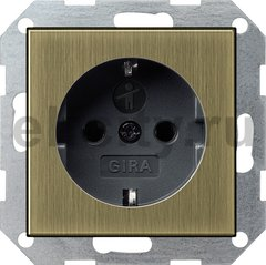 Розетка с заземляющими контактами 16 А / 250 В, с защитой от детей и пиктограммой, бронза/черный