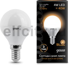 Лампа Gauss LED Globe 4W E14 2700K 1/10/50