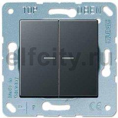 Выключатель двухклавишный с подсветкой, 10 А / 250 В, антрацит