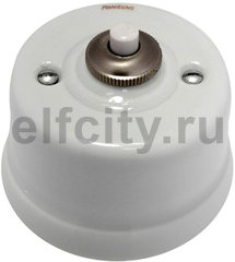 Выключатель кнопочный одинарный, 10А / 250В, наружный монтаж, белый фарфор / коричневый декор