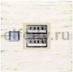 USB механизм с латунной крышкой - USB зарядка, цвет: выбеленный белый, бежевый