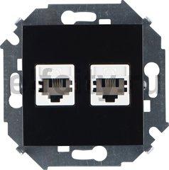 Розетка телефонная двойная RJ11, черный