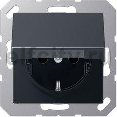 Штепсельная розетка SCHUKO 16A 250V~ с защитой от детей; с крышкой; термопласт; антрацит