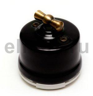 Выключатель поворотный 2-х позиционный для наружного монтажа проходной, черный