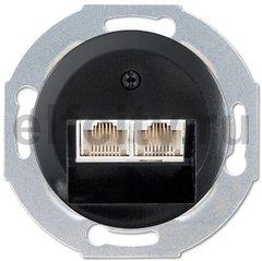 Розетка телефонная двойная RJ11, пластик черный глянцевый