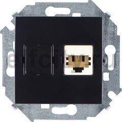 Розетка телефонная одинарная RJ11, черный