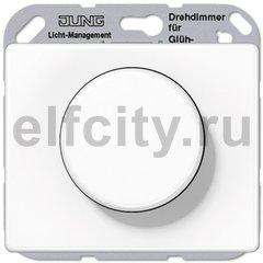 Диммер (светорегулятор) поворотный 100-1000 Вт для ламп накаливания и галогенных 220B, пластик белый глянцевый
