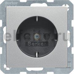 Розетка с заземляющими контактами 16 А / 250 В, с защитой от детей, автоматические зажимы, алюминиевый, с эффектом бархата