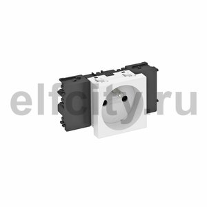 Розетка одинарная 0° Modul45connect франц. стандарт, 250 В, 16A (белый)