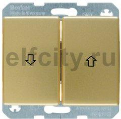 Выключатель управление жалюзи, клавишный, 10 А / 250 В, металл под золото