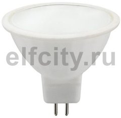 Civilight светодиодная лампа, 5,5 Вт, 220В, GU5,3, 350Lm, 120^, 3000К (теплый), мат.стекло