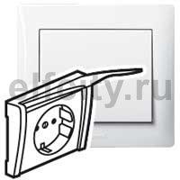 Лицевая панель - Galea Life - для розетки 2К+З - с защитными шторками + крышка - White