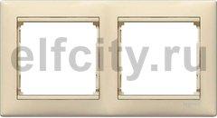 Рамка 2 поста, для горизонтального/вертикального монтажа, пластик кремовый глянцевый