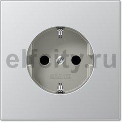 Розетка с заземляющими контактами 16 А / 250 В, автоматические зажимы, алюминий