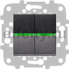 Выключатель с подсветкой двухклавишный, 10 А / 250 В, антрацит