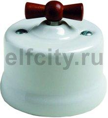 Выключатель поворотный одноклавишный перекресный (вкл/выкл с 3-х мест) 10 А / 250 В, наружный монтаж, белый фарфор, ручка мёд