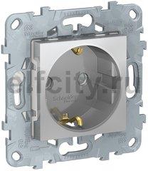 Розетка с заземляющими контактами, автоматические зажимы 16 А / 250 В, с защитой от детей, алюминий