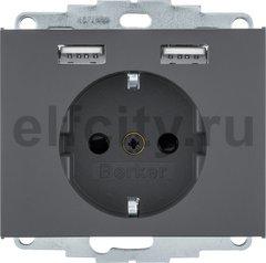 Розетка SCHUKO и 2 USB-розетки для подзарядки, K.1, цвет: антрацитовый