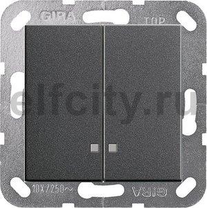 Выключатель двухклавишный с подсветкой, 10 А / 250 В, пластик антрацит