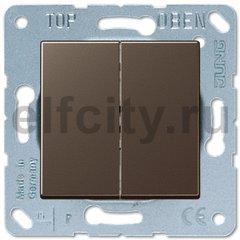 Выключатель двухклавишный, 10 А / 250 В, мокко