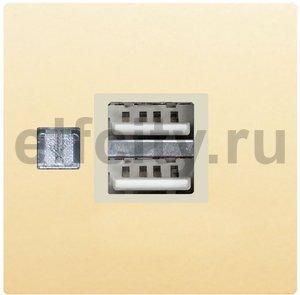 USB механизм с пластиковой крышкой - USB зарядка, цвет: бежевый