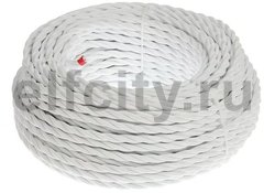 Ретро кабель 3х1.5 плетеный, в двойной ПВХ изоляции с пламегасительным наполнителем, покрыт антигорючими нитеевыми волокнами, в упаковке 50м, белый