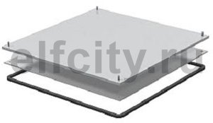 Кассетная рамка с выемкой для напольного покрытия для монтажного основания 383x383x9 мм (сталь)