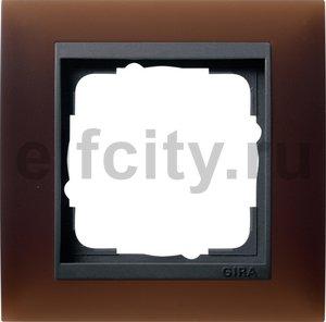Рамка 1 пост, пластик матово-коричневый/антрацит