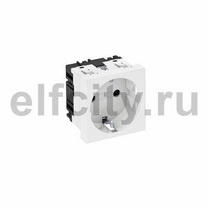 Розетка одинарная 0° с з/к, 250 В, 16A (белый)