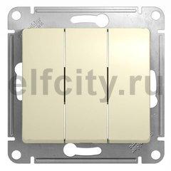 Выключатель трехклавишный 10 А / 250 В, бежевый