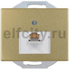 Розетка телефонная одинарная RJ11, металл под золото