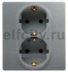 Розетка 2 x 2К+З со шторками - немецкий стандарт - автоматические зажимы - 16 А - 250 В~ - Etika - алюминий