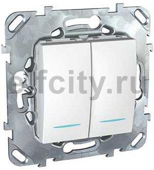 Выключатель двухклавишный с подсветкой, 10 А / 250 В, пластик белый
