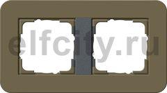 Рамка 2 поста, для горизонтального/вертикального монтажа, Soft-Touch дымчатый/антрацит