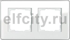 Рамка 2 поста, для горизонтального/вертикального монтажа, стекло белое Glass C