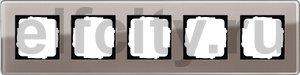 Рамка 5 постов, для горизонтального/вертикального монтажа, стекло дымчатое Glass C