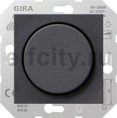 Диммер (светорегулятор) поворотный 60-600 Вт для ламп накаливания и галогенных 220B, пластик антрацит