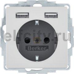 Розетка SCHUKO и 2 USB-розетки для подзарядки, Q.x, алюминиевый, с эффектом бархата