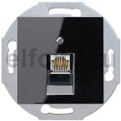 Розетка телефонная одинарная RJ11, пластик черный глянцевый