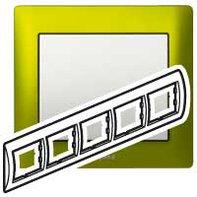 Рамка 5 постов, для горизонтального монтажа, зеленый металл