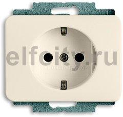 Розетка с заземляющими контактами 16 А / 250 В, автоматические зажимы, пластик кремовый глянцевый