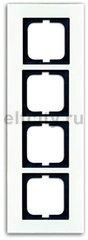 Рамка 4 поста, для горизонтального/вертикального монтажа, белое стекло