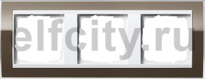 Рамка 3 поста, для горизонтального/вертикального монтажа, пластик прозрачный коричневый-глянц.белый