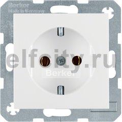 Розетка с заземляющими контактами 16 А / 250 В, автоматические зажимы, пластик белый глянцевый