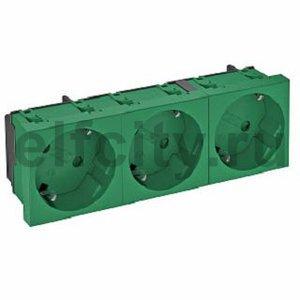 Розетка тройная 33° с з/к, 250 В, 16A (зеленый)