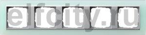 Рамка 5 постов, для горизонтального/вертикального монтажа, пластик матово-салатовый/алюминий