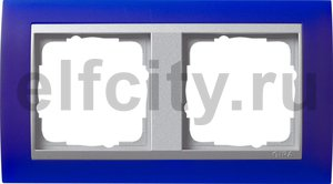 Рамка 2 поста, для горизонтального/вертикального монтажа, пластик матово-синий/алюминий